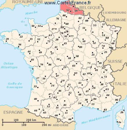 map region Nord-Pas-de-Calais