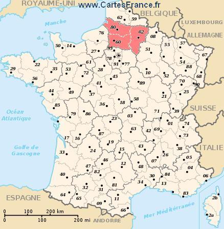 map region Picardie