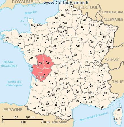 map region Poitou-Charentes
