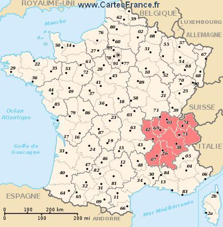 map region Rhône-Alpes