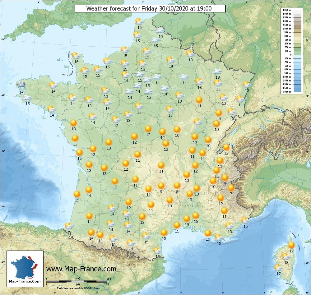 Wheather map for Vendredi 30-10-2020 19H00