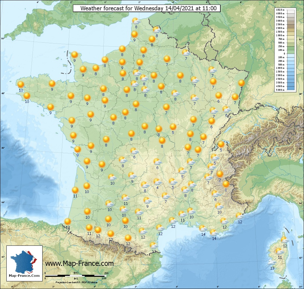 Wheather map for Mercredi 14-04-2021 11H00