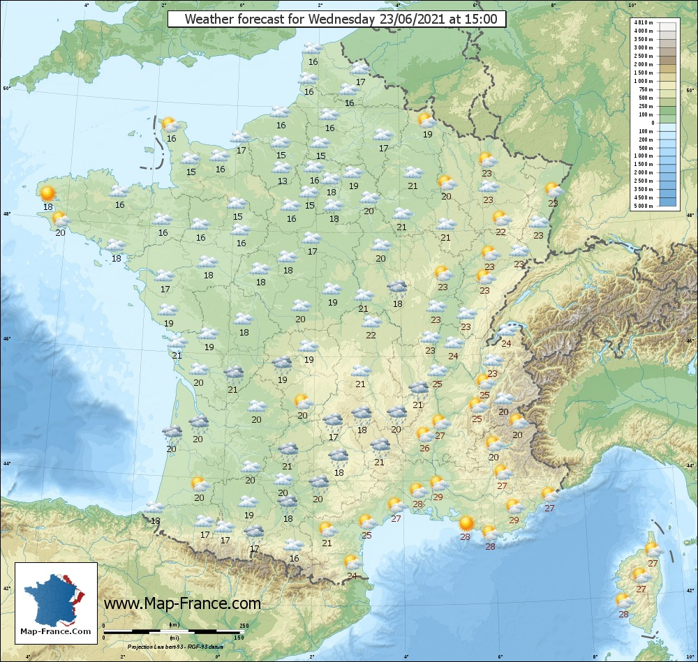 Wheather map for Mercredi 23-06-2021 15H00