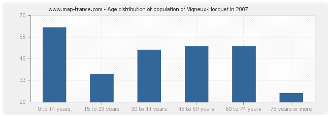 Age distribution of population of Vigneux-Hocquet in 2007