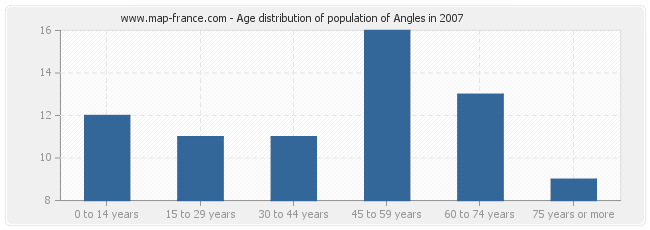 Age distribution of population of Angles in 2007