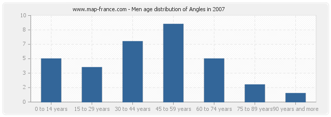 Men age distribution of Angles in 2007