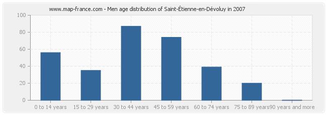 Men age distribution of Saint-Étienne-en-Dévoluy in 2007