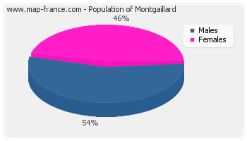 Sex distribution of population of Montgaillard in 2007