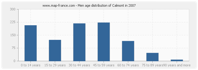 Men age distribution of Calmont in 2007