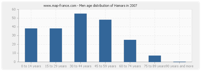 Men age distribution of Hamars in 2007