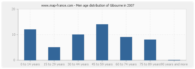 Men age distribution of Gibourne in 2007