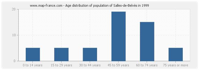 Age distribution of population of Salles-de-Belvès in 1999