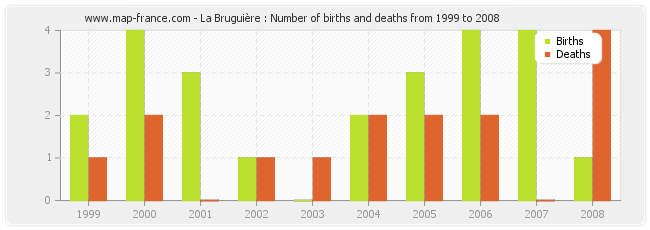 La Bruguière : Number of births and deaths from 1999 to 2008
