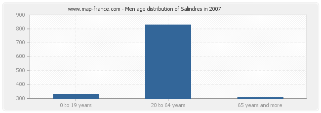 Men age distribution of Salindres in 2007