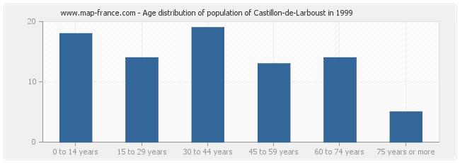 Age distribution of population of Castillon-de-Larboust in 1999