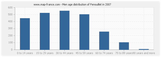 Men age distribution of Fenouillet in 2007
