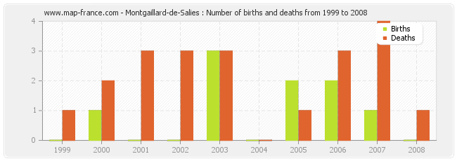 Montgaillard-de-Salies : Number of births and deaths from 1999 to 2008