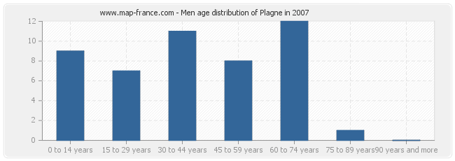 Men age distribution of Plagne in 2007