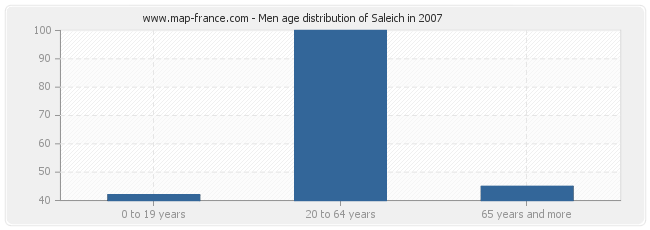 Men age distribution of Saleich in 2007