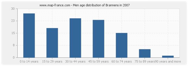 Men age distribution of Brannens in 2007