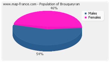 Sex distribution of population of Brouqueyran in 2007