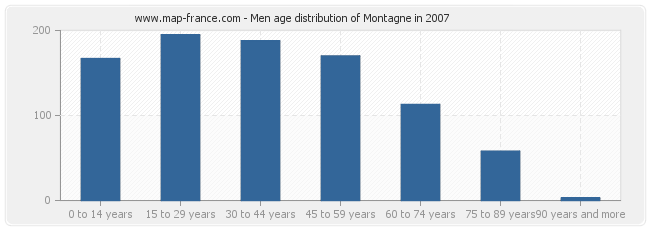 Men age distribution of Montagne in 2007