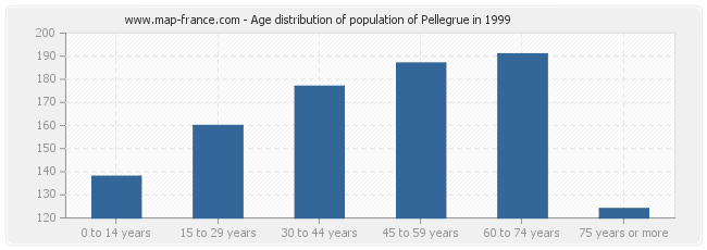 Age distribution of population of Pellegrue in 1999