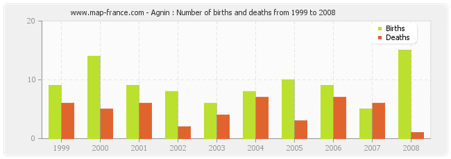 Agnin : Number of births and deaths from 1999 to 2008