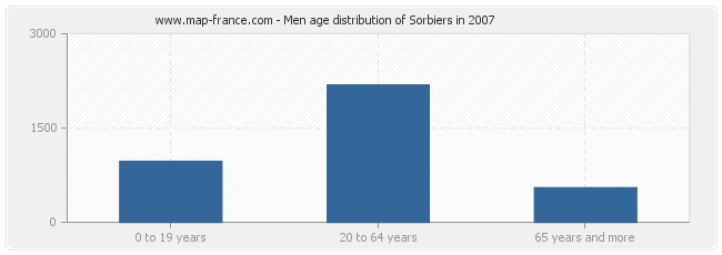 Men age distribution of Sorbiers in 2007