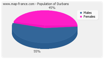 Sex distribution of population of Durbans in 2007
