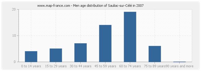 Men age distribution of Sauliac-sur-Célé in 2007