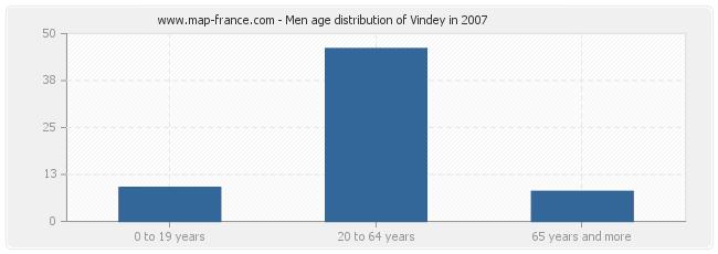 Men age distribution of Vindey in 2007