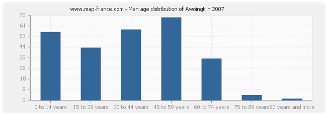 Men age distribution of Awoingt in 2007