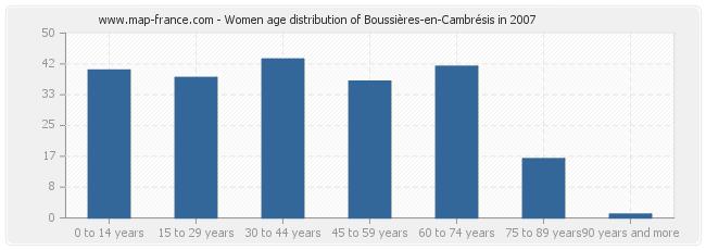Women age distribution of Boussières-en-Cambrésis in 2007