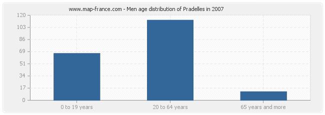 Men age distribution of Pradelles in 2007