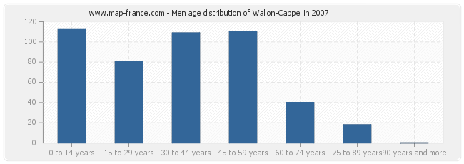 Men age distribution of Wallon-Cappel in 2007