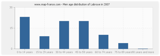 Men age distribution of Labroye in 2007