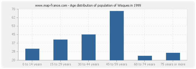 Age distribution of population of Wisques in 1999