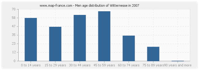 Men age distribution of Witternesse in 2007