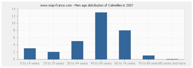 Men age distribution of Calmeilles in 2007