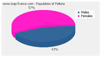 Sex distribution of population of Felluns in 2007