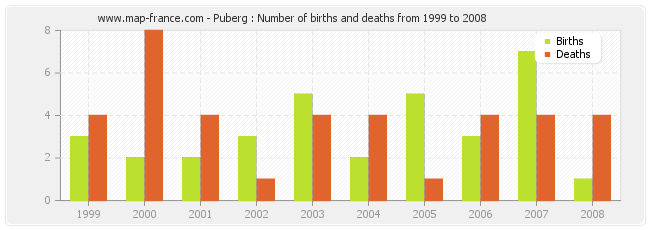 Puberg : Number of births and deaths from 1999 to 2008