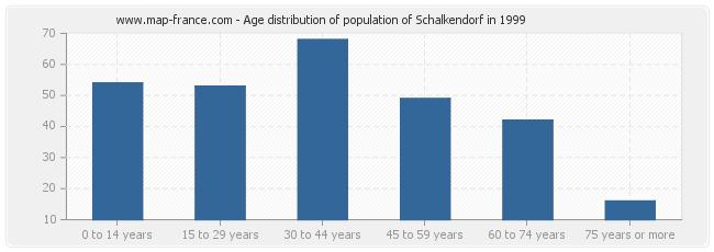 Age distribution of population of Schalkendorf in 1999