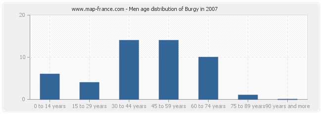Men age distribution of Burgy in 2007
