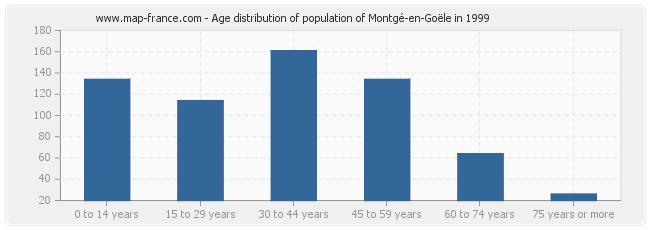 Age distribution of population of Montgé-en-Goële in 1999