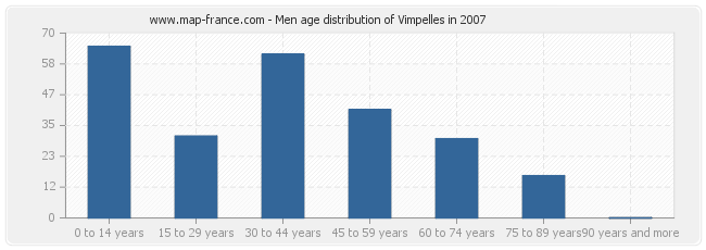 Men age distribution of Vimpelles in 2007