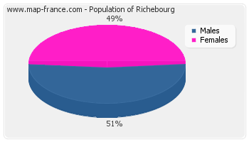 Sex distribution of population of Richebourg in 2007