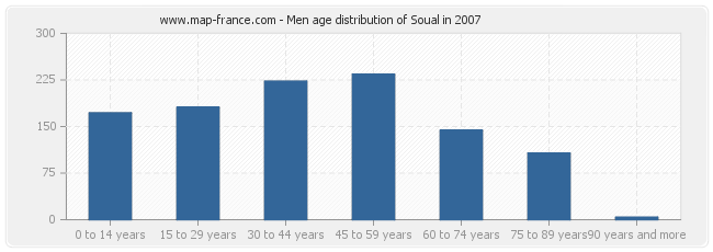 Men age distribution of Soual in 2007