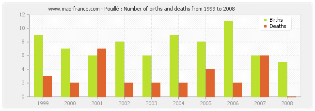 Pouillé : Number of births and deaths from 1999 to 2008