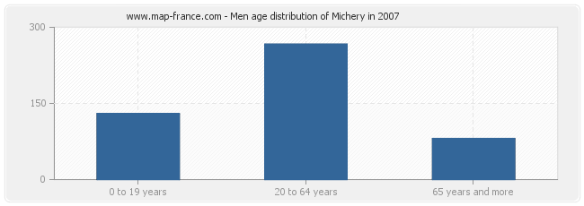 Men age distribution of Michery in 2007